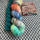 STEAMPUNK MEDUSA with Teal * Alphabet City Tweed Sock Set * -- full-size skein with mini-skein -- ready to ship yarn