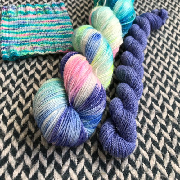 HIPPOCAMPUS with Blue * Broadway Sparkle Sock Set * -- full-size skein with mini-skein -- ready to ship yarn