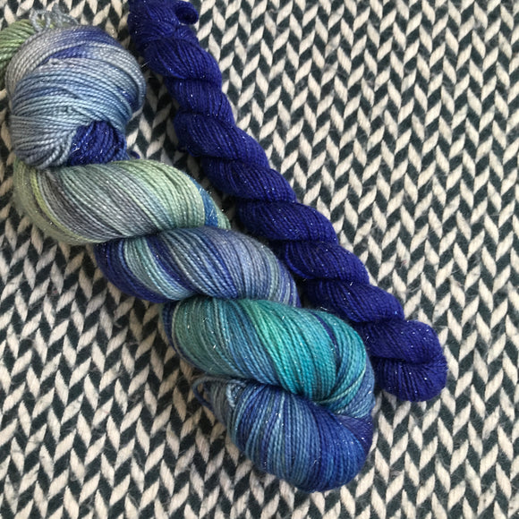 JUMPING WAVES with Blue * Broadway Sparkle Sock Set * -- full-size skein with mini-skein -- ready to ship yarn