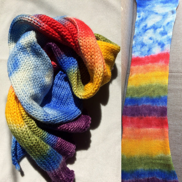 SKY TO RAINBOW -- hand-painted sock blank -- dyed to order yarn