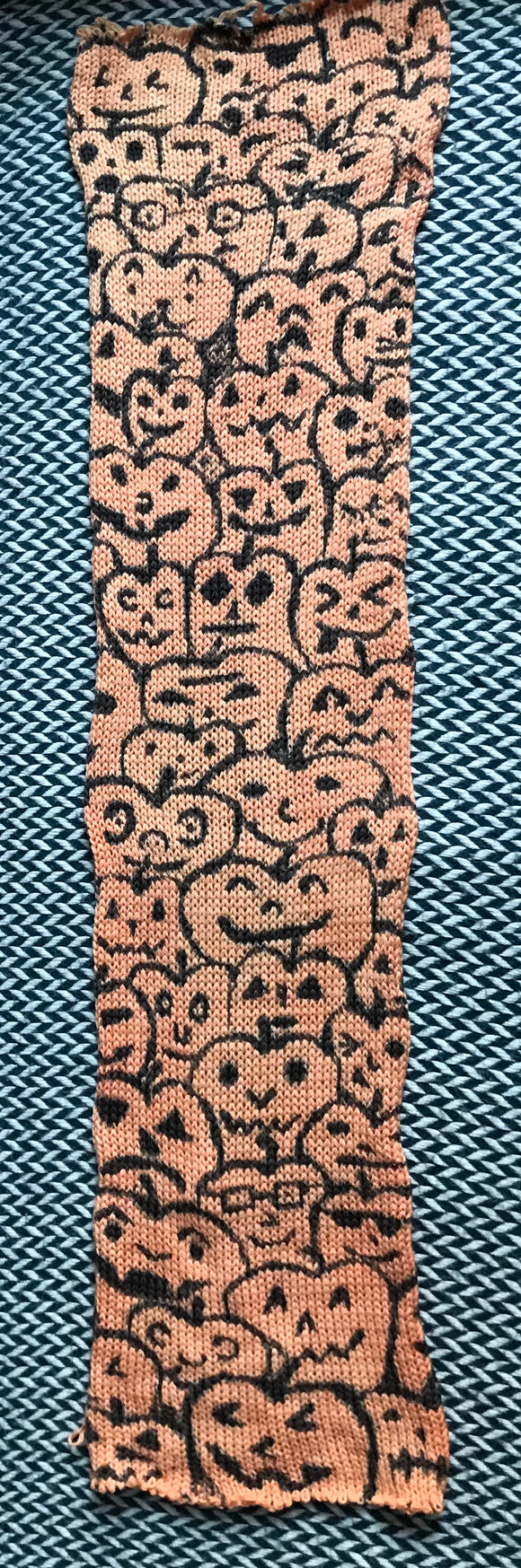 JACK O'LANTERNS -- hand-painted double stranded sock blank -- ready to ship