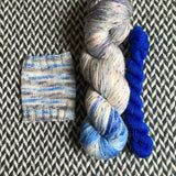 I BELIEVE YOU with Blue * Alphabet City Tweed Sock Set * -- full-size skein with mini-skein -- ready to ship yarn