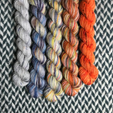 Autumn in New York *5 Mini-Skein Set* -- Broadway sparkle sock yarn -- ready to ship