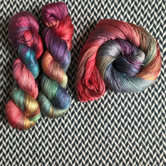 DUSK RAINBOW -- Park Ave silk lace yarn -- ready to ship