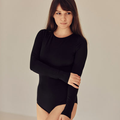 The BASIC Bodysuit with long sleeve | Black - NALU