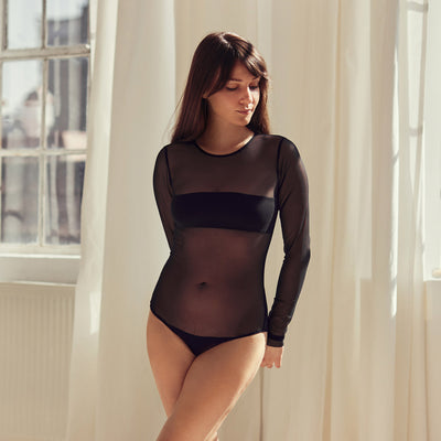 The LOVE Bodysuit with long sleeve | Black - NALU