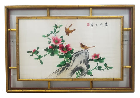 Antique Chinese Embroidered Birds Floral Framed Silk Panel