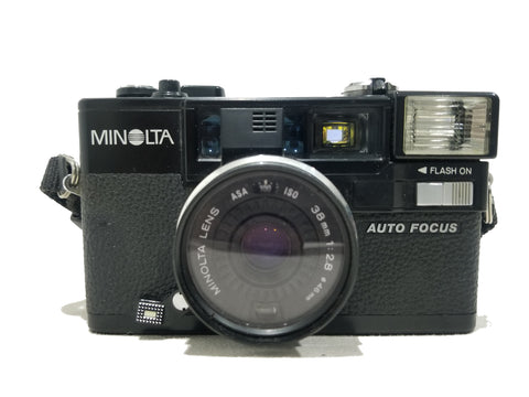 Vintage Minolta Hi-Matic AF-2 35mm F2.8 Auto Focus Point and Shoot Camera w/ Leather Case and Strap