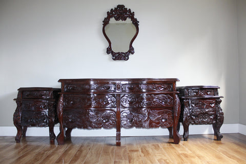 Antique Hand Carved Mahogany Dresser Set