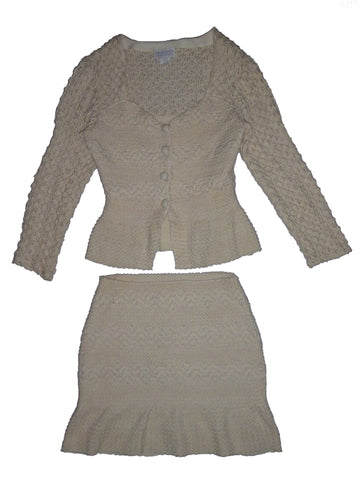 Hand Knitted Cream 2 pc Skirt Suit L