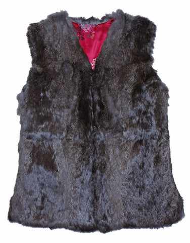 Nifty Thrifty Love Vintage Rabbit Fur Reversible Vest Oriental Print
