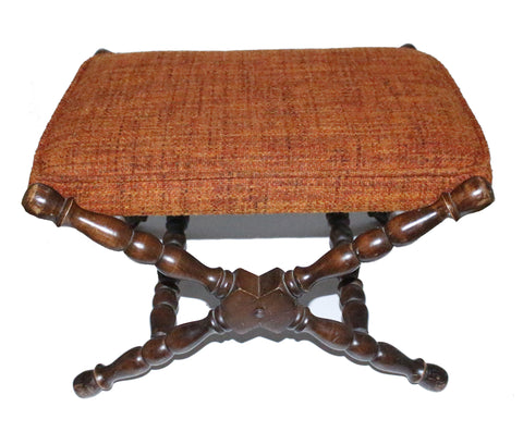 Nifty Thrifty Love Rare Antique Tell City #8219 Fabric Maple Wood Upholstery Stool Footstool Ottoman