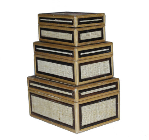Set of 3 Vintage Woven Wicker Wood Nesting Boxes Box In A Box