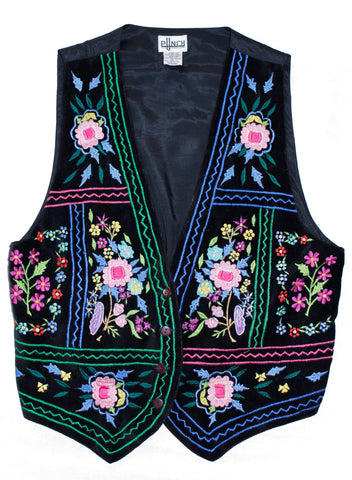 Boho Girl Floral Velvet Embroidered Vest M