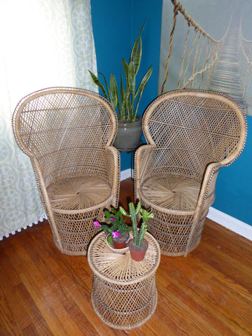 Wicker Peacock Chair 3-Piece Set