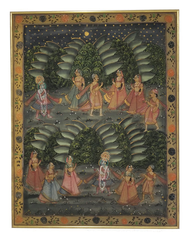 Pichhavai Hindu Painting of Krishna with Female Gopis