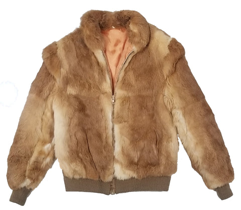 Natural Dyed Rabbit Fur Bomber Jacket S