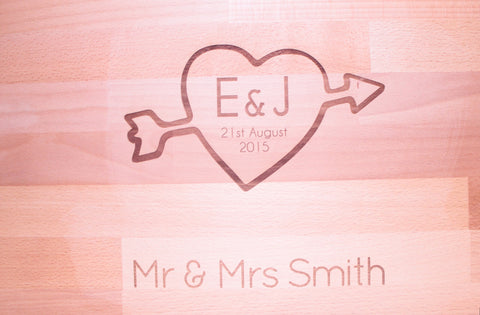 Customised Wedding Heart Chopping Board