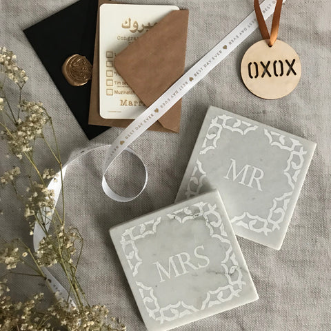Marble Mr & Mrs Coasters set