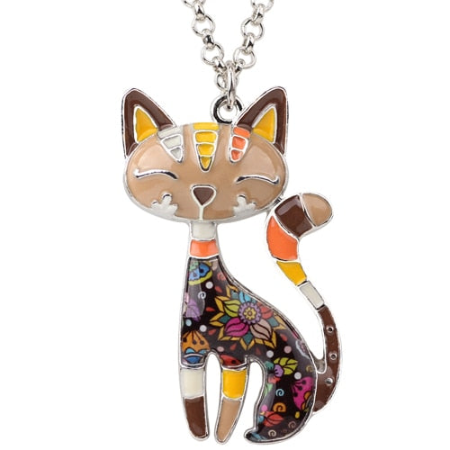 Artsy Cat Enamel Necklace