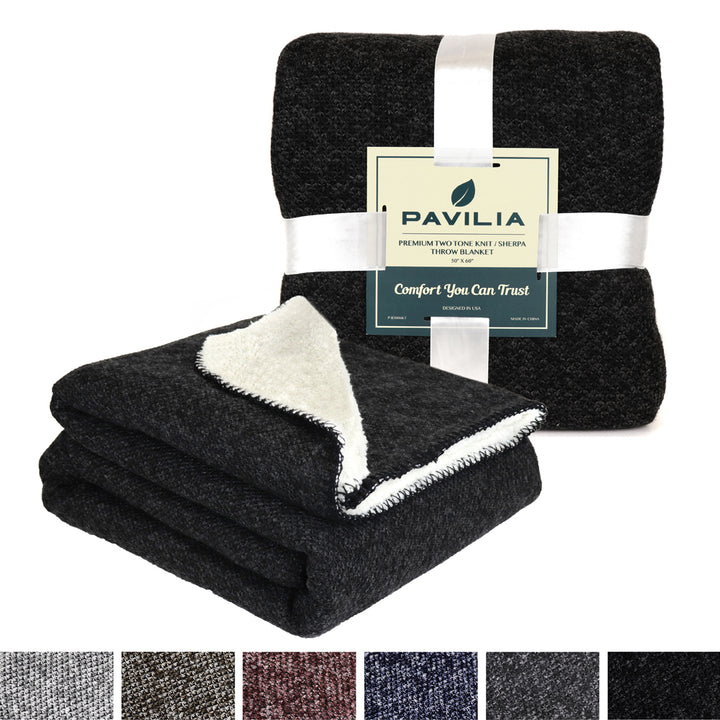 Pavilia Knit Sherpa Throw Blanket (Black Melange)