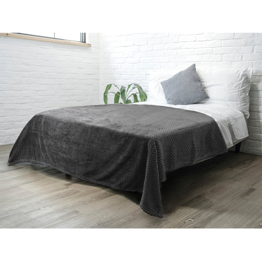 Pavilia Textured Flannel Fleece Blanket