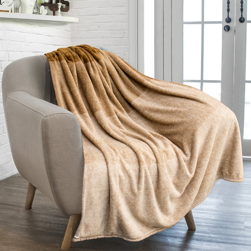 Pavilia Gradient Ombre Flannel Fleece Blanket