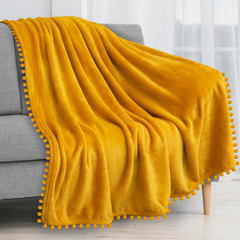 Pavilia Pom Pom Fringe Throw Blanket