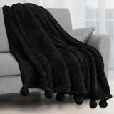Pom Pom Fringe Sherpa Throw Blanket