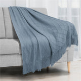 Diamond Knit Textured Fringe Throw Blanket