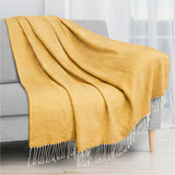 Herringbone Knit Fringe Throw Blanket