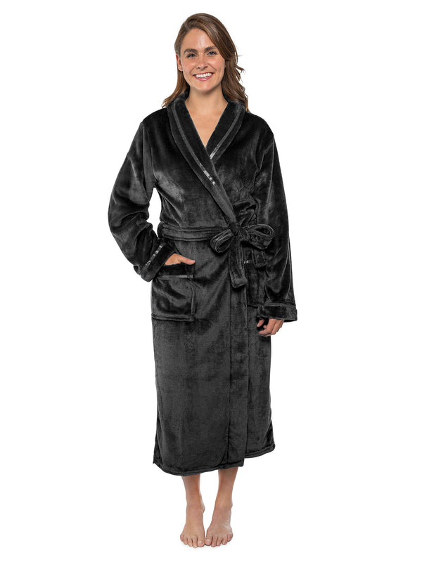 Women's Satin Trim Fleece Robe