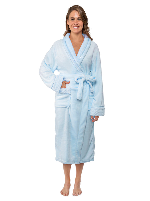 Women's Satin and Waffle Trim Fleece Robe