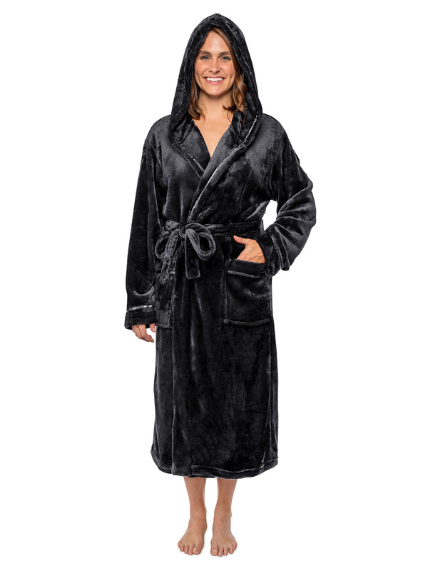 Women's Satin Trim Fleece Robe with Hood