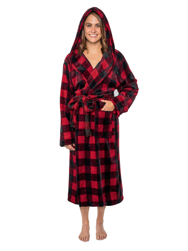 Women's Checkered Robe with Hood