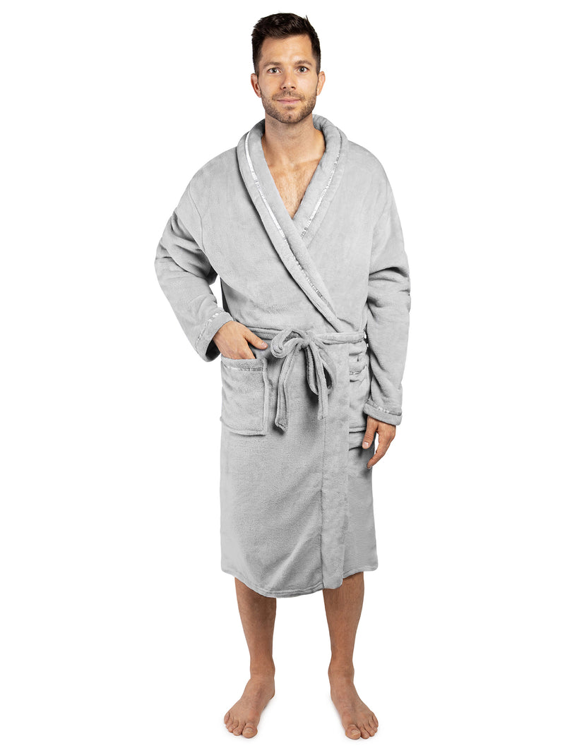 Men's Satin Trim Fleece Robe