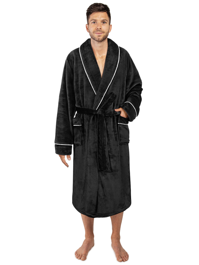 Men's Piping Fleece Robe