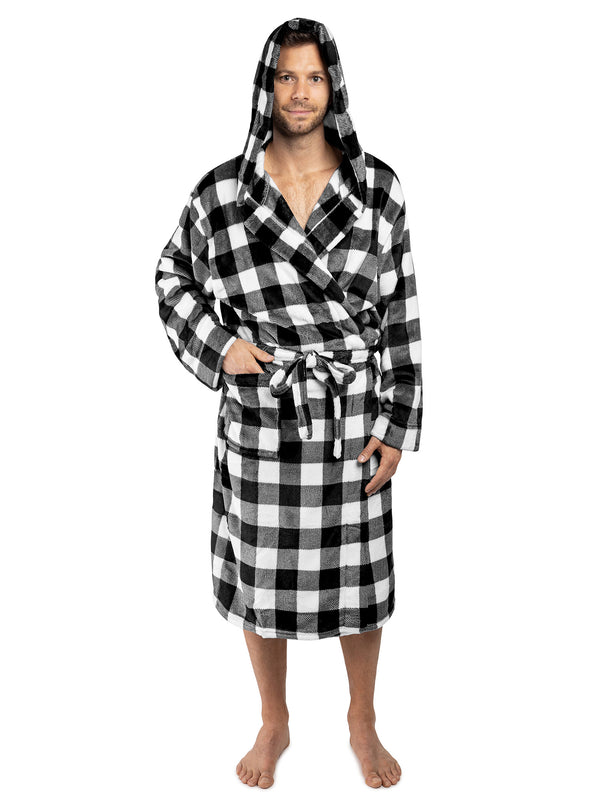 Men's Checkered Robe with Hood