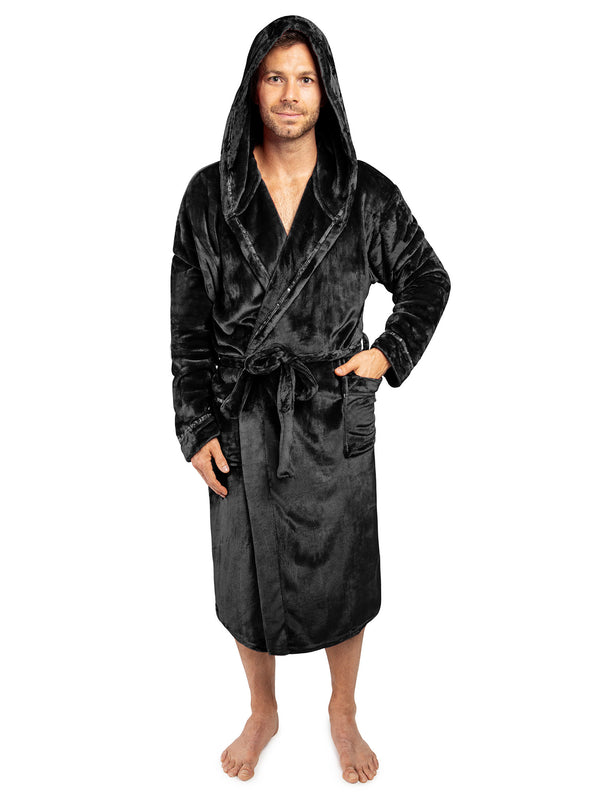 Men's Satin Trim Fleece Robe with Hood