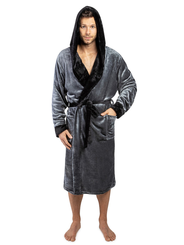 Men's Two-Tone Fleece Robe with Hood