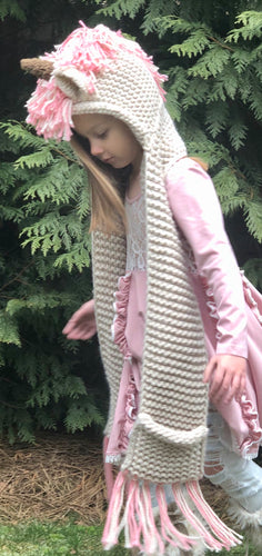 Unicorn Hooded Scarf - Pink