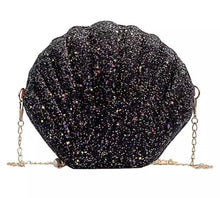Load image into Gallery viewer, Uma Seashell Handbag - Black Sparkle,addison-s-addictions-handbags-accessories-2