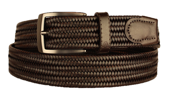 ALBERTO BRAIDED STRETCH LEATHER BELT BROWN