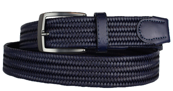 ALBERTO BRAIDED STRETCH LEATHER BELT NAVY