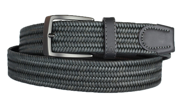 ALBERTO BRAIDED STRETCH LEATHER BELT GREY
