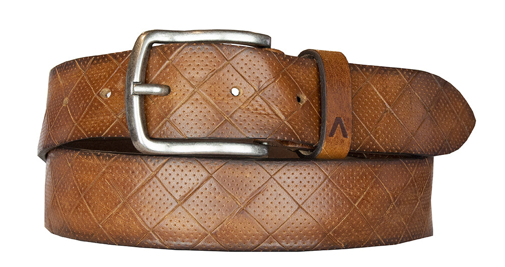 ALBERTO DIAMOND PATTERN LEATHER BELT TAN