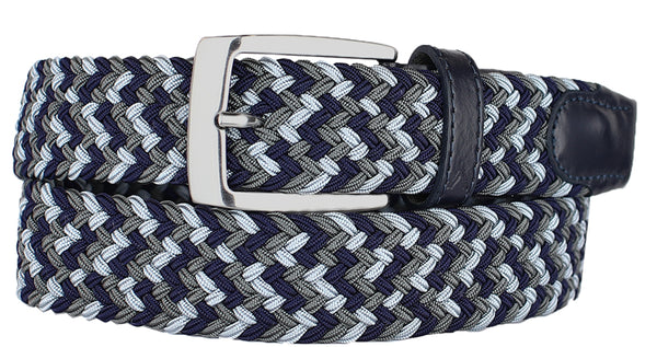ALBERTO BRAIDED MULT NAVY/GREY/KHAKI STRETCH