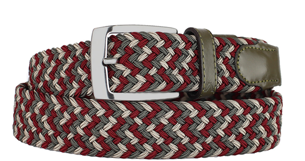 ALBERTO BRAIDED MULT RED/KHAKI/OLIVE STRETCH