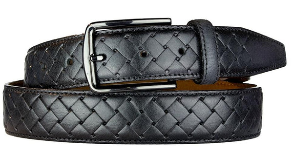 ALBERTO BASKET WEAVE PATTERN LEATHER BELT BLACK