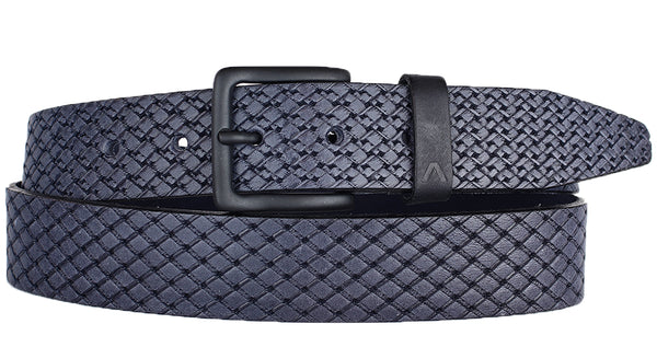 ALBERTO PATTERN BLUE LEATHER BELT